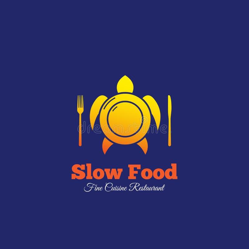 Sinal, emblema ou Logo Template do vetor do sumário de Slow Food Placa com forquilha e faca misturada com a silhueta da tartaruga ilustração royalty free