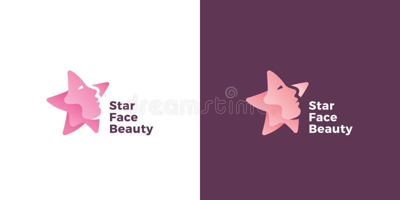 Sinal, emblema ou Logo Template do vetor do sumário da cara da estrela Silhueta da estrela como uma cara bonita da mulher Símbolo ilustração do vetor