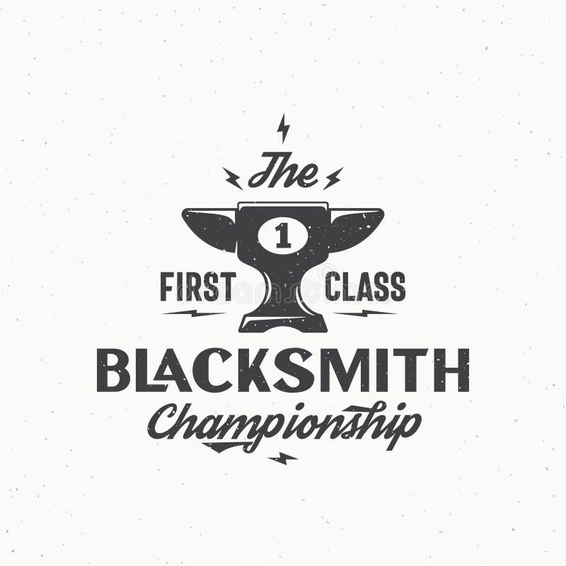 Sinal, emblema ou Logo Template do vintage de Championship Abstract Vetora do ferreiro Copo ou cálice que olham o ícone do batent ilustração stock