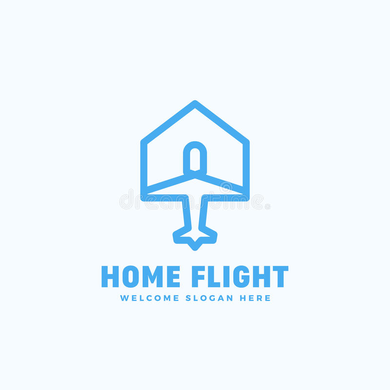 Sinal, emblema ou Logo Template home do vetor do sumário do voo Conceito do ícone do plano e da casa com tipografia ilustração do vetor