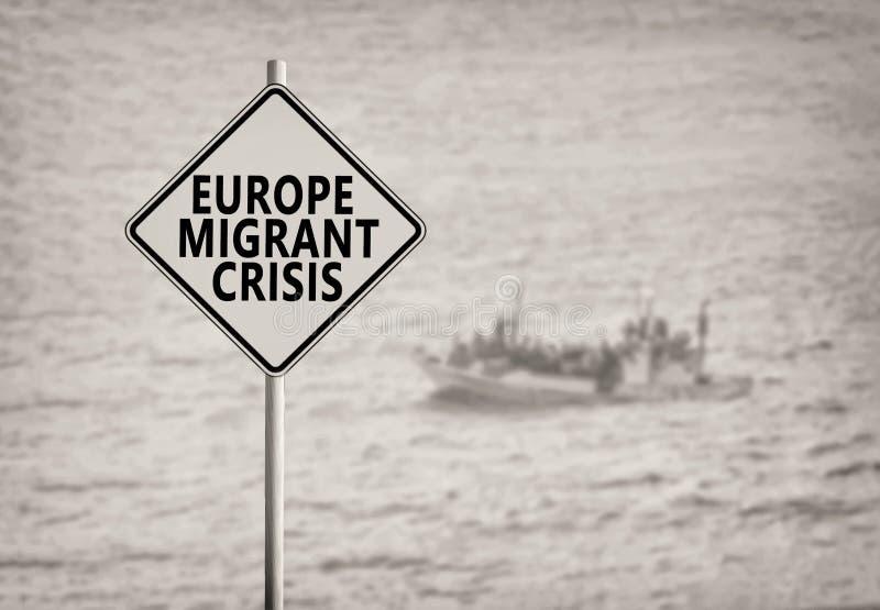 Sinal emigrante da crise de Europa imagens de stock royalty free