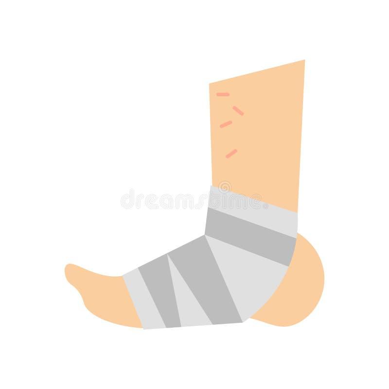 Sinal emplastrado e símbolo do vetor do ícone do pé isolados no CCB branco ilustração do vetor