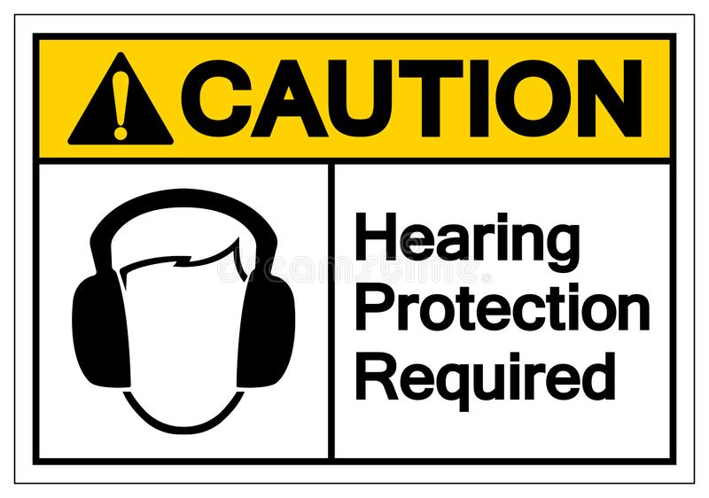 Sinal exigido do símbolo da proteção de audição do cuidado, ilustração do vetor, isolado na etiqueta branca do fundo EPS10 ilustração stock