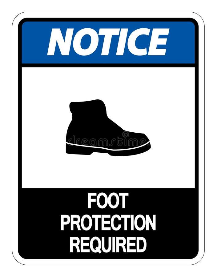 sinal exigido proteção da parede do pé da observação do símbolo no fundo branco ilustração do vetor