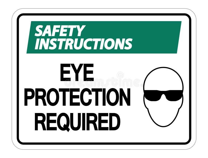 sinal exigido proteção ocular da parede das instruções de segurança do símbolo no fundo branco ilustração do vetor