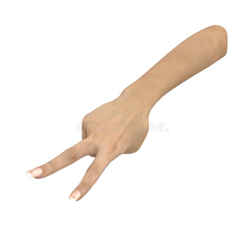 Sinal fêmea da mão do diabo no branco ilustração 3D ilustração stock