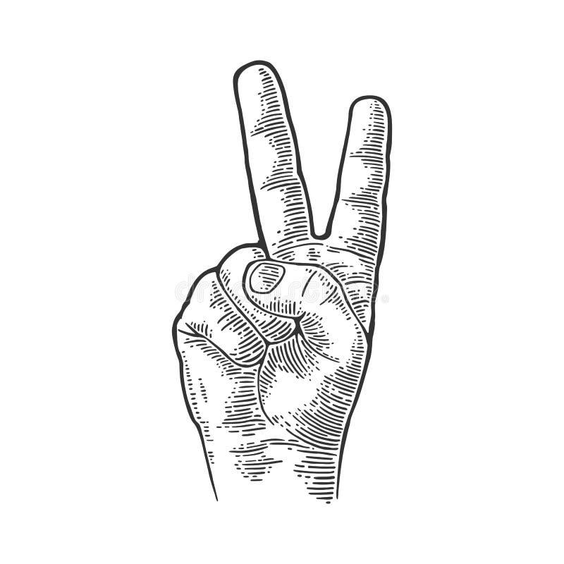 Sinal fêmea da vitória do sinal da mão, ou sinal ou tesouras de paz Ilustração gravada vintage do preto do vetor isolada em um br ilustração royalty free