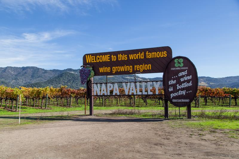 Sinal famoso de Napa Valley imagem de stock royalty free