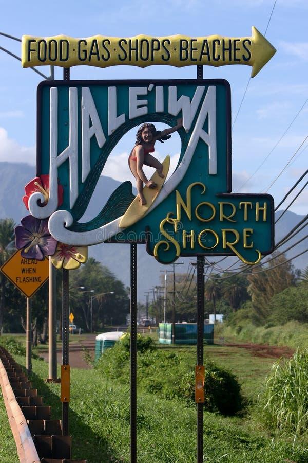 Sinal famoso a Hale'iwa, costa norte, Havaí fotografia de stock royalty free