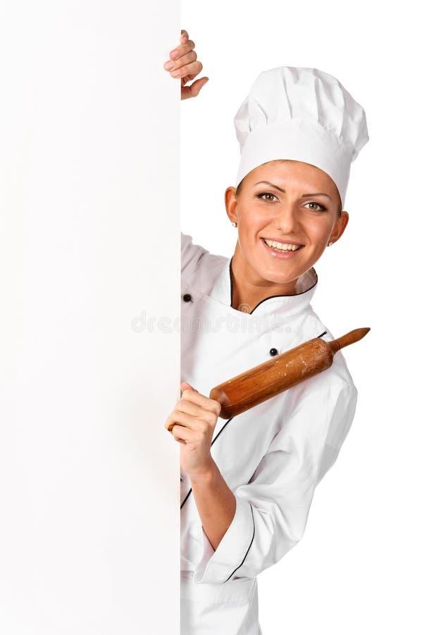 Sinal feliz de sorriso do Livro Branco da placa da terra arrendada do cozinheiro chefe, do padeiro ou do cozinheiro fotos de stock royalty free