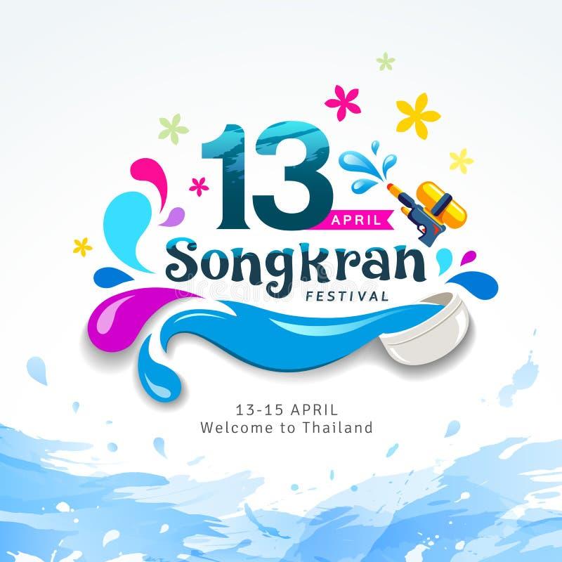 Sinal feliz de surpresa do festival de Songkran do respingo da água do projeto de Tailândia ilustração do vetor
