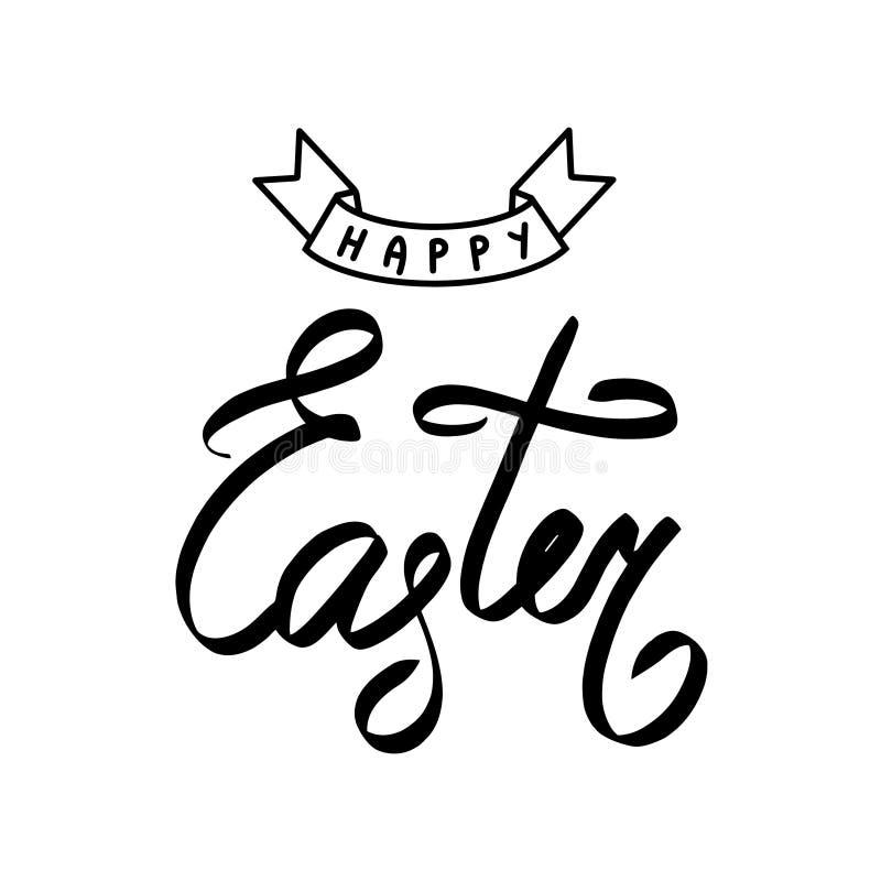 Sinal feliz do vetor da Páscoa Feriado que rotula a frase Ilustração escrita à mão da caligrafia Desenho gráfico da mão da bandei ilustração royalty free
