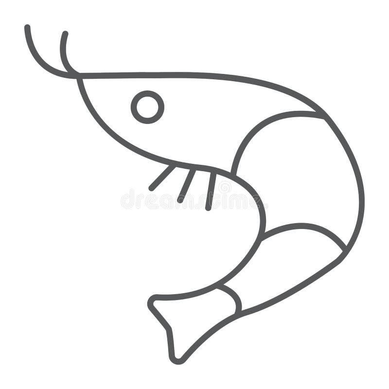 Sinal fino da linha ícone, do animal e do mar, oceano do alimento do camarão, gráficos de vetor, um teste padrão linear em um fun ilustração stock