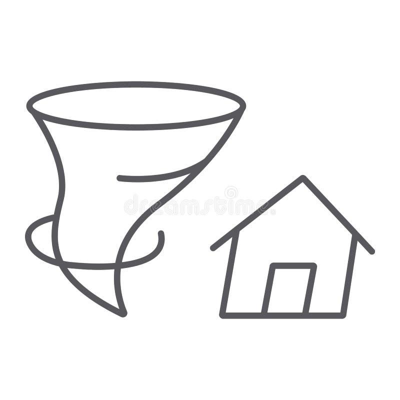 Sinal fino da linha ícone, do desastre e da natureza, da casa e do furacão do seguro do furacão, gráficos de vetor, um teste padr ilustração do vetor