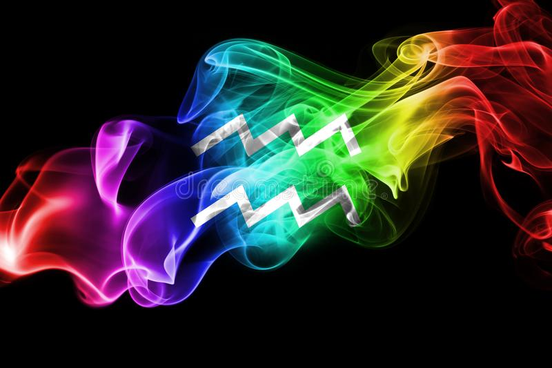 Sinal fumarento da astrologia do zodíaco do Aquário para o horóscopo ilustração stock