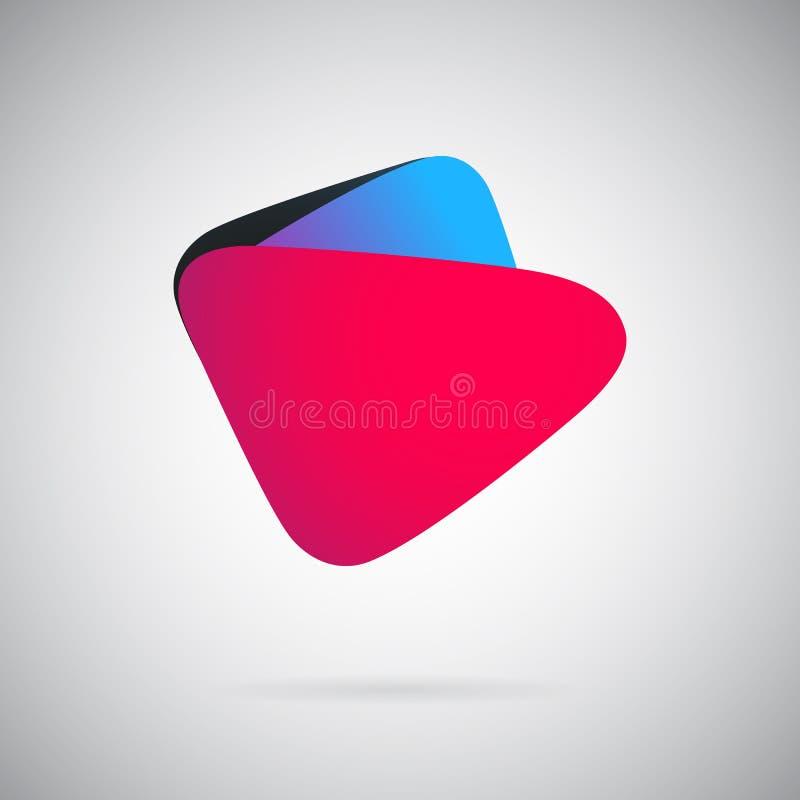 Sinal geométrico do botão da cor do ícone do molde abstrato ilustração royalty free