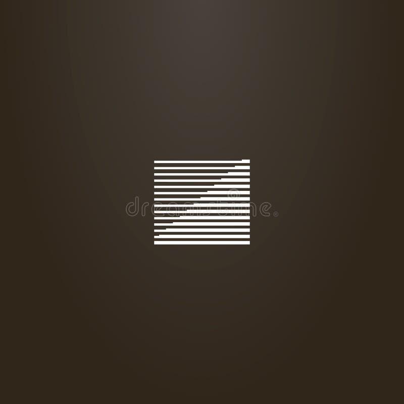 Sinal geométrico do vetor do quadrado das linhas de espessura diferente que formam uma escada ilustração do vetor
