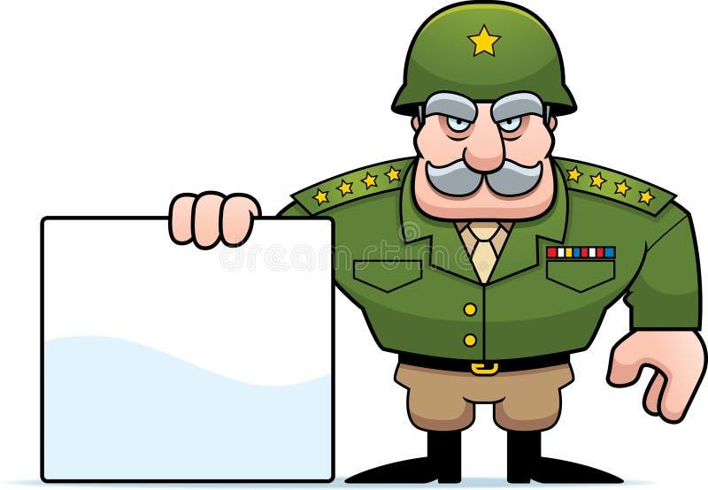 Sinal geral militar dos desenhos animados ilustração stock