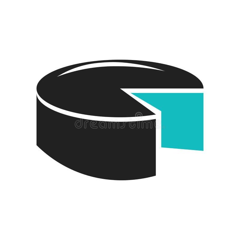 sinal gráfico e símbolo do vetor do ícone da carta de torta 3d isolados no fundo branco, conceito gráfico do logotipo da carta de ilustração stock
