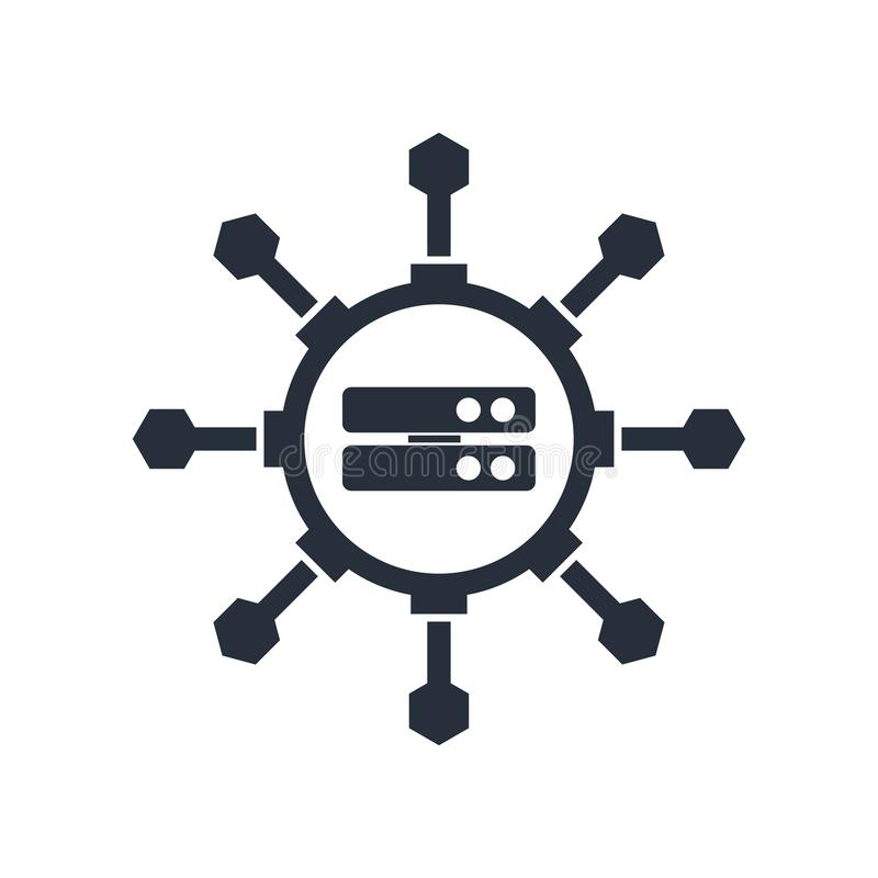 Sinal grande e símbolo do vetor do cientista dos dados isolados no fundo branco, conceito grande do logotipo do cientista dos dad ilustração royalty free