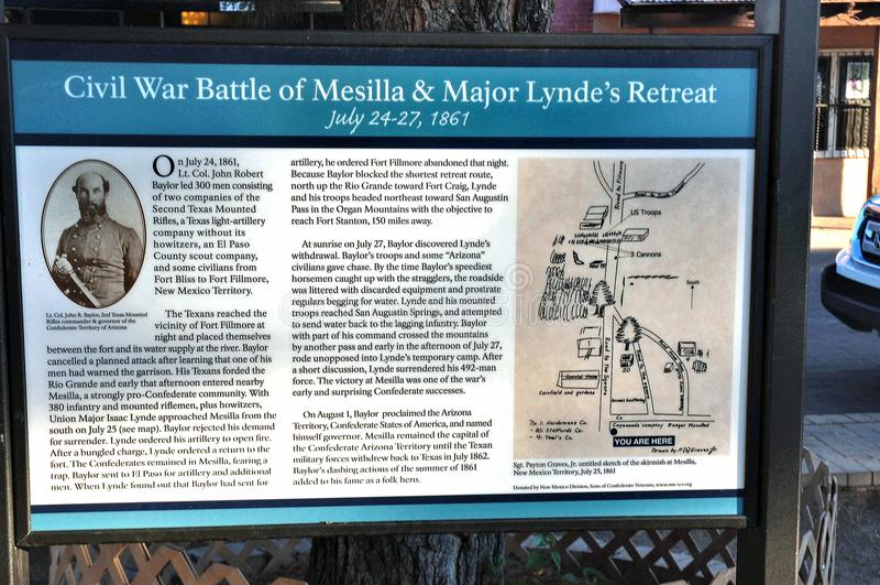 Sinal histórico da batalha da cidade do mesilla do estado de New mexico foto de stock royalty free