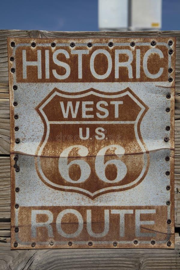 Sinal histórico de Route 66 fotografia de stock