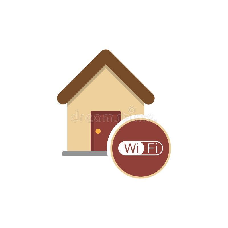 Sinal home de Wifi Símbolo de Wi-Fi Ícone da rede wireless Zona de WiFi Navegação moderna do Web site de UI Vetor ilustração royalty free