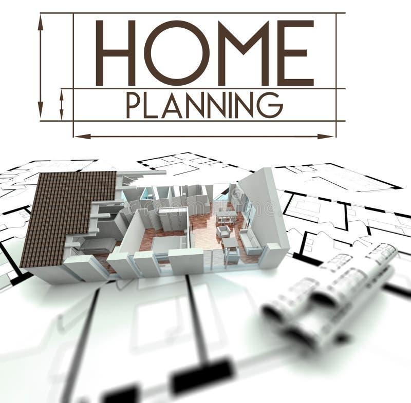Sinal home do planeamento com projeto da casa ilustração stock