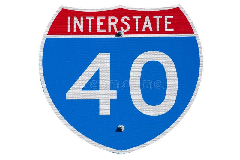 Sinal I-40 de um estado a outro foto de stock royalty free