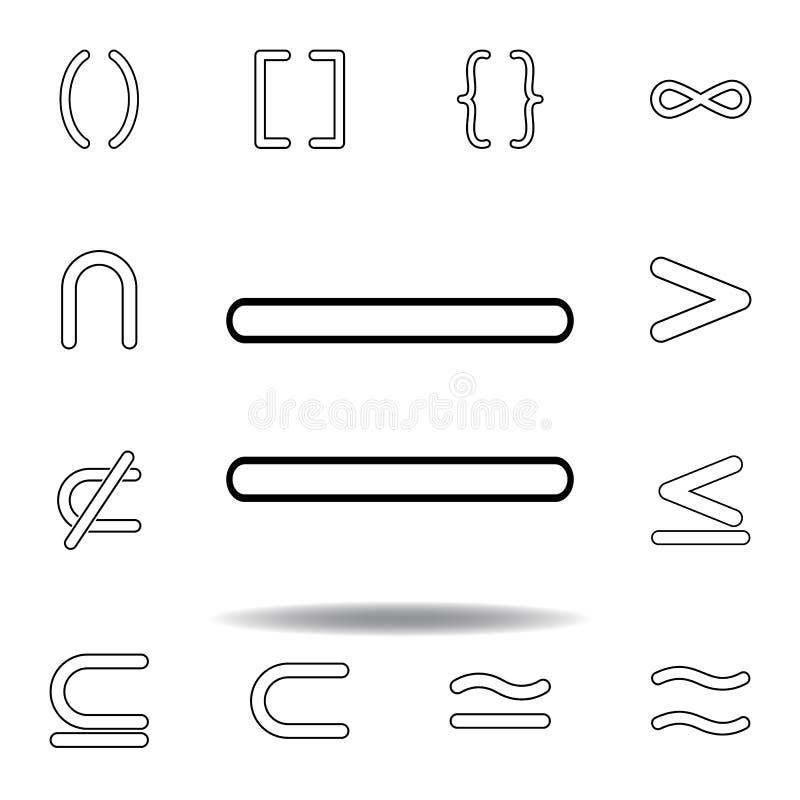 Sinal igual Linha fina ícones ajustados para o projeto do Web site e o desenvolvimento, desenvolvimento do app ?cone superior ilustração do vetor