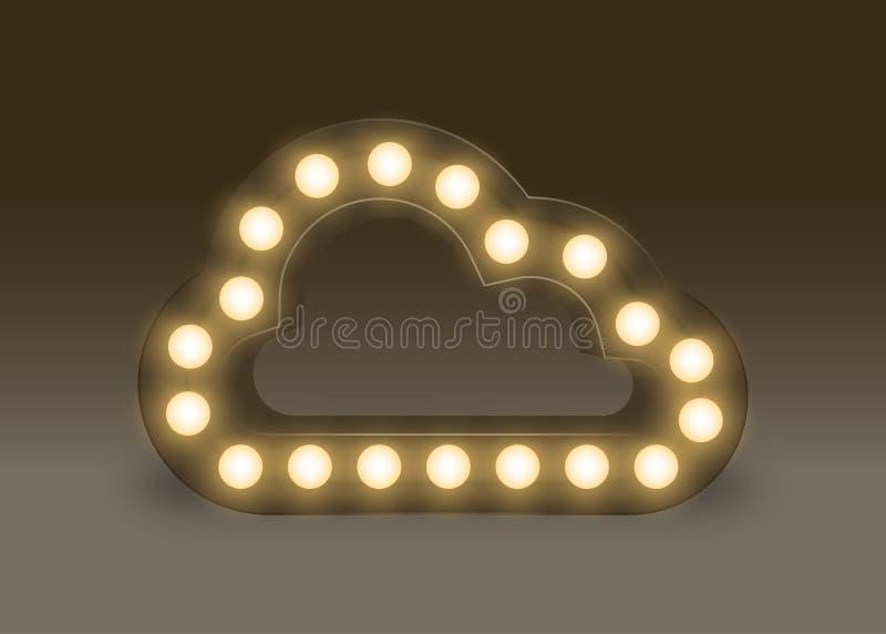 Sinal incandescente da nuvem do grupo da caixa da ampola do símbolo, fulgor 3D isolado da ilustração estilo retro na obscuridade ilustração do vetor