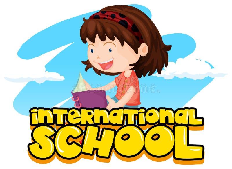 Sinal internacional da escola com o livro de leitura da menina ilustração do vetor