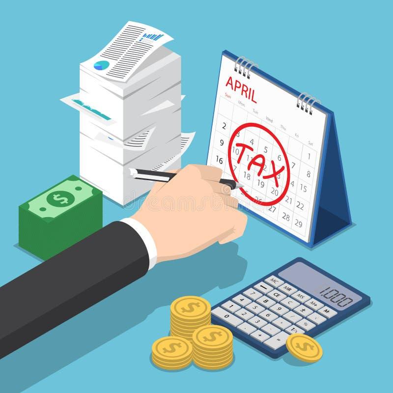 Sinal isométrico de Hand Marking Tax do homem de negócios no calendário ilustração stock