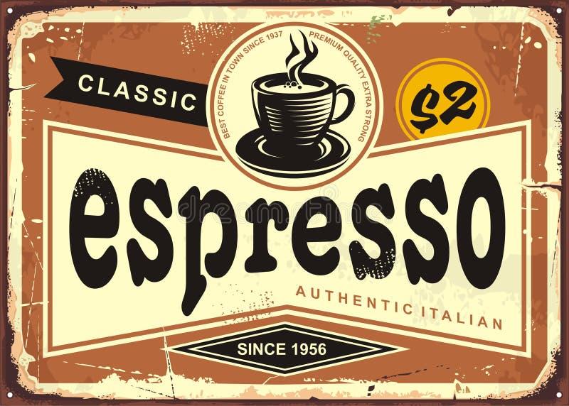 Sinal italiano autêntico da lata do vintage do café ilustração do vetor