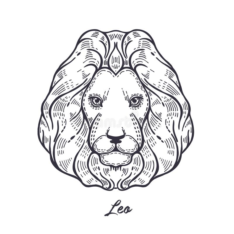 Sinal leo do zod?aco O símbolo do horóscopo astrológico ilustração do vetor
