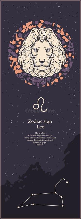 Sinal leo do zod?aco O símbolo do horóscopo astrológico Face das mulheres Hand-drawn de illustration Bandeira vertical Molde para ilustração stock