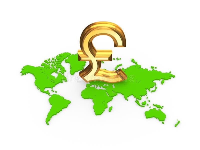 Sinal libra esterlina em um mapa. ilustração stock
