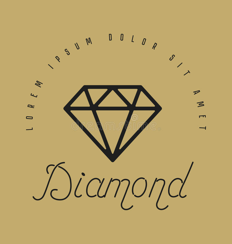 Sinal linear do diamante Ícone ou projeto do logotipo Ilustração do vetor H ilustração do vetor