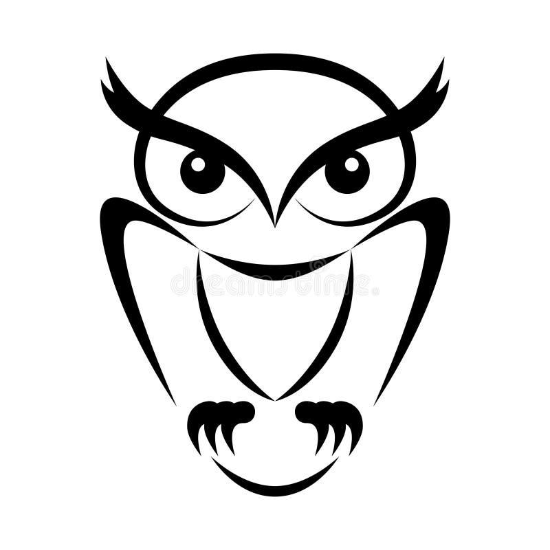 Sinal liso do preto da coruja ilustração stock