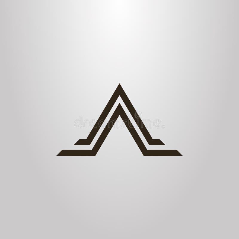 Sinal liso geométrico da arte do vetor simples da forma abstrata da montanha do triângulo em duas linhas ilustração royalty free