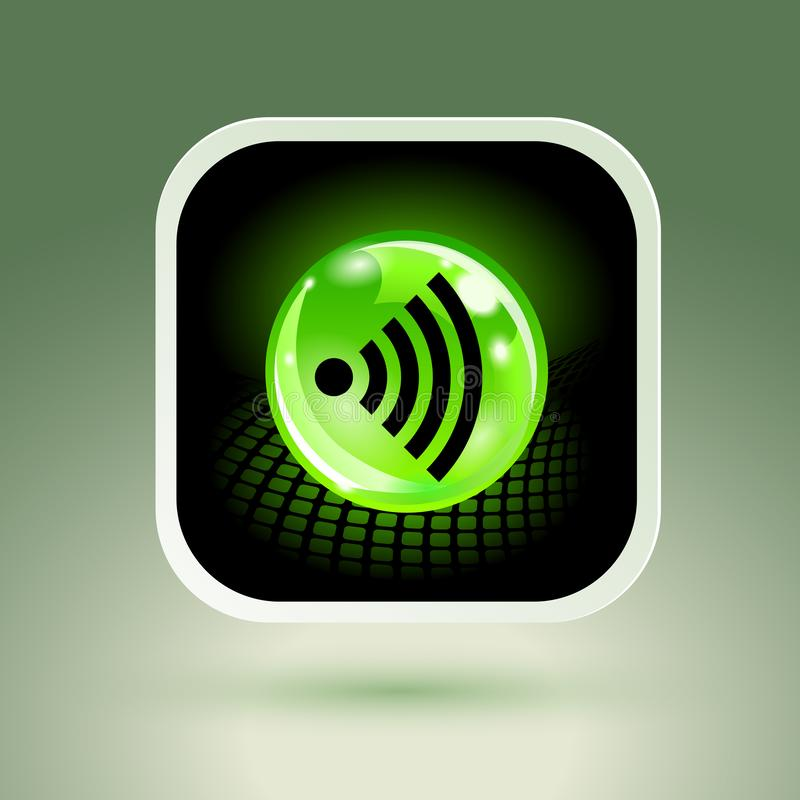 Sinal livre de Wifi com ícone quadrado do estilo ilustração stock