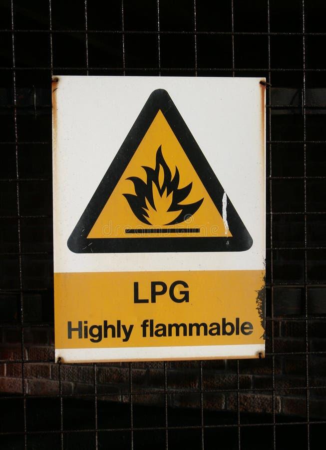 Sinal, LPG altamente inflamável fotos de stock
