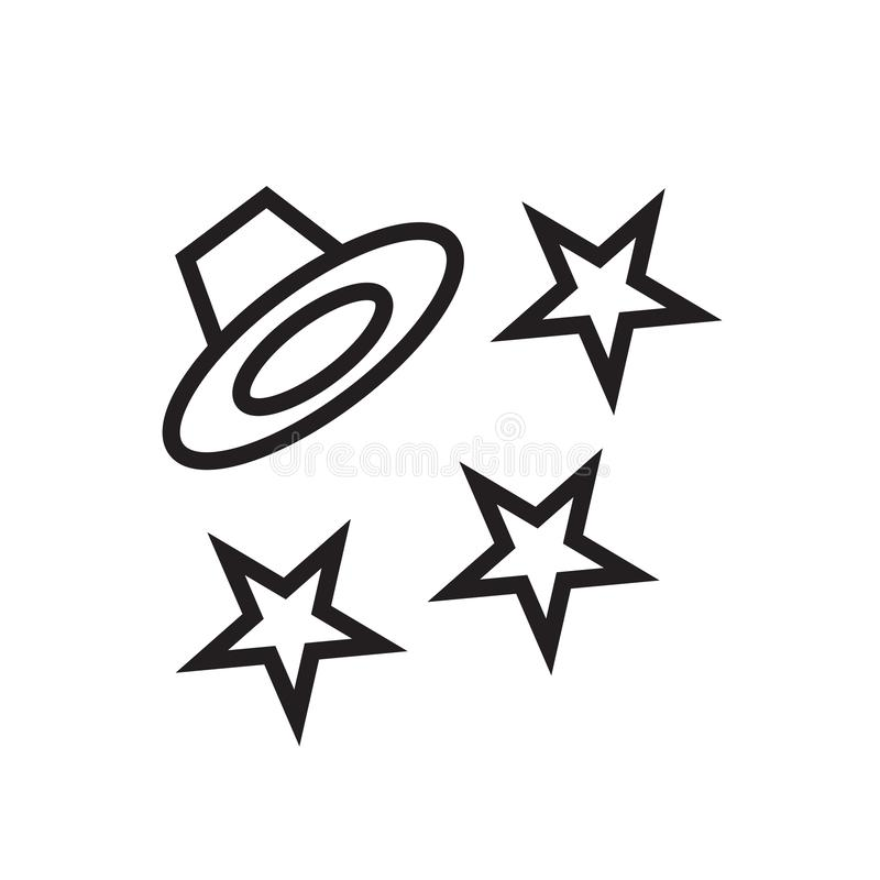 Sinal mágico e símbolo do vetor do ícone do chapéu isolados no fundo branco ilustração do vetor