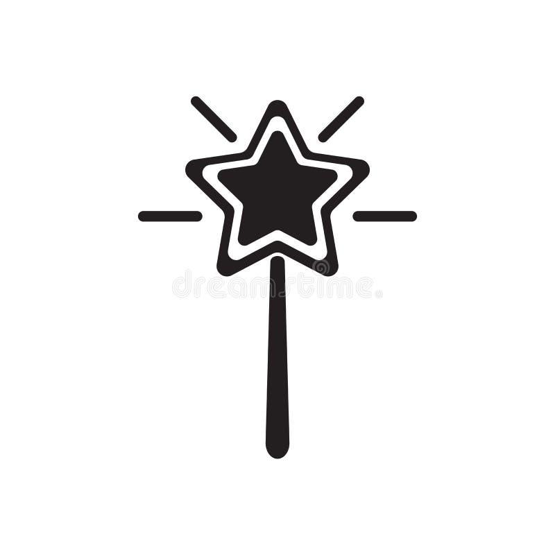 Sinal mágico e símbolo do vetor do ícone da varinha isolados no fundo branco, conceito mágico do logotipo da varinha ilustração stock