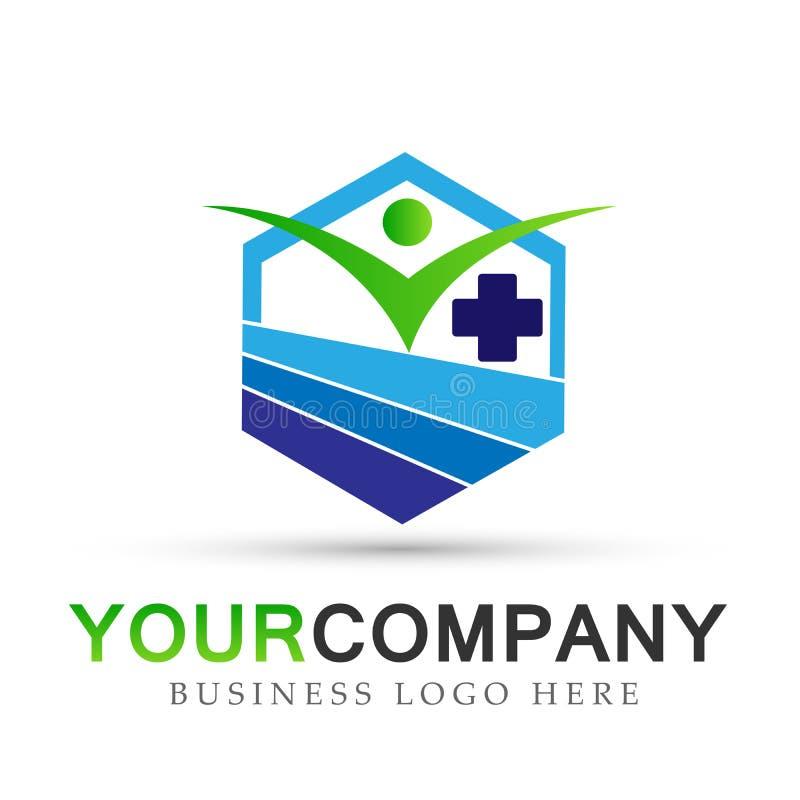 Sinal médico do elemento do ícone do logotipo do conceito da empresa da forma do hexágono dos cuidados médicos dos povos no fundo ilustração stock