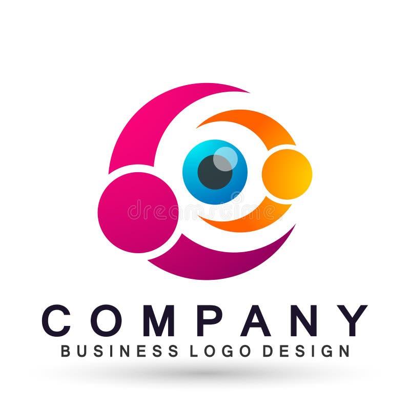 Sinal médico do elemento do ícone do logotipo do conceito da saúde da família do globo do cuidado do olho no fundo branco ilustração do vetor