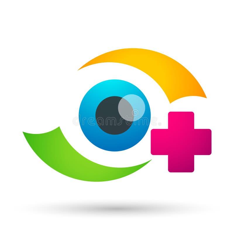Sinal médico do elemento do ícone do logotipo do conceito da saúde da família do globo do cuidado do olho no fundo branco ilustração royalty free