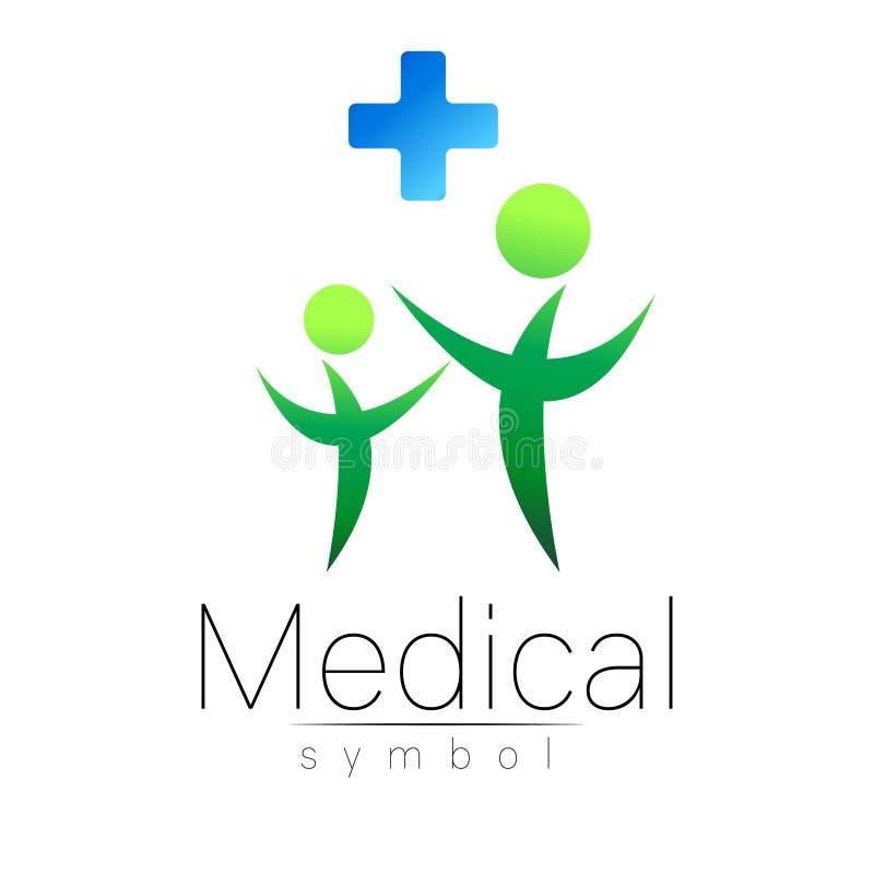 Sinal médico do vetor com cruz, família Símbolo para doutores, Web site, cartão da visita, ícone Cor verde azul Medicina moderna ilustração do vetor