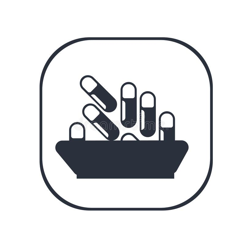 Sinal médico e símbolo do vetor do ícone do comprimido isolados no fundo branco, conceito médico do logotipo do comprimido ilustração do vetor