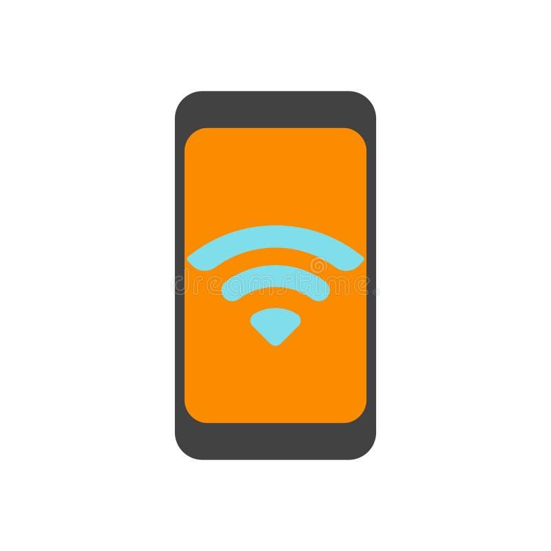Sinal móvel e símbolo do vetor do ícone isolados no fundo branco, conceito móvel do logotipo ilustração stock